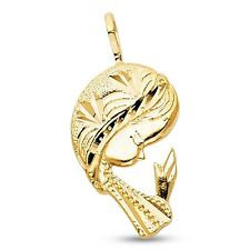 Virgin Mary Prayer Pendant Solid 14k Yellow Gold Lady Guadalupe Charm Fashion