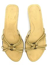 Tod's Gold  Leather Strappy Slides Flat Low Sandals Italy Women Shoes 9.5
