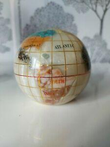 Mother Of Pearl Semi Precious Gemstone Globe Paperweight