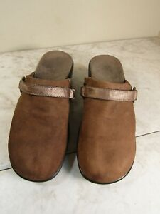 Vionic Splotchy Brown Leather Strap/Ring Trim Clog Shoes Women's Size 7 M
