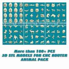 100+ PCS 3D STL Models Animal panno for CNC Router 3 axis Relief Artcam aspire