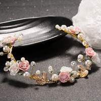 Bridal Wedding Party Pink White Rose Flower Gold Leaf Crown Hair Band Headband
