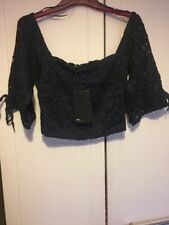 ZARA puffy lace cropped top Navy Blue BNWT  BLOGGER FAV size L