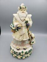 "Victorian Santa Claus Figurine Ceramic Musical Majolica 11"" White Christmas Vtg"