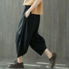 Women Cotton Linen Vintage Pants Elastic Waist Wide Leg Casual Baggy Trousers