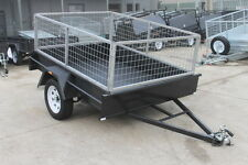 7x5 Domestic Heavy Duty, Single Axle Trailer w/ Smooth Floor 2 FT CAGE