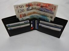 Gent's Cow Leather Wallet with four Paper Money Pockets Large Size Brown