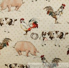BonEful Fabric FQ Cotton Quilt Brown Tan B&W Farm Animal Chicken Rooster Pig Cow