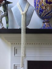 "ESTATE LONG AAA PEARLS 48"" HANDCRAFTED MULIT 6 STRANDS LARIAT NECKLACE 14K BEADS"