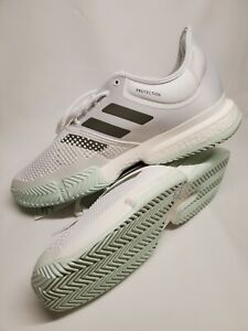 Adidas SoleCourt Boost Tennis Shoes Sneakers White Green Men's Size 12.5