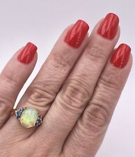 Genuine Ethiopian Opal, Topaz & Diamond 14k Rose Gold Ring, Size 7.25, New