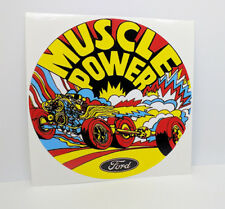 Ford Muscle Power Vintage Style DECAL, Vinyl STICKER, racing, hot rod, rat rod