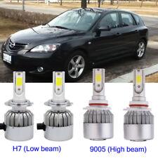 4Pcs Car H7+9005 HB3 144W LED Headlight Kit Light Bulb For Mazda 3 2006-2004
