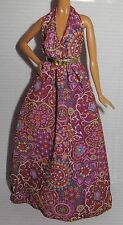 LOOK DRESS ~ BARBIE DOLL MODEL MUSE HIPPIE BOHO CHIC PRINT FESTIVAL HALTER GOWN