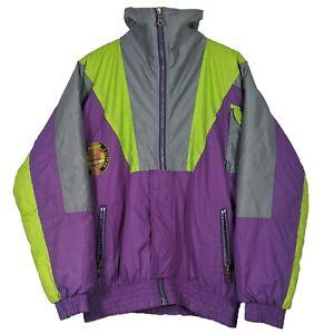 RODEO Vintage Purple & Neon Green Half Zip Ski Jacket Wintertime Fun - Size 40
