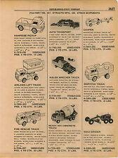 1961 ADVERT 4 PG Structo Toy Truck Wrecker Camper Pick Up Shovel Camper & Boat