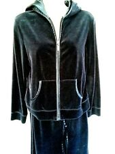 Tickled Pink Womens Petite Small Pant Suit Jacket Hoodie Velour Blue Velvet