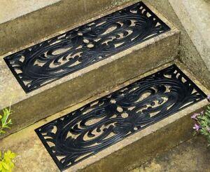 Rubber Door Step Mats Weather Resistant Non Slip Decorative 75x25cm Pack of 2