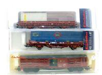 ELECTROTREN HO SCALE RAKE OF 3 WAGONS LIVESTOCK,2X CONTAINER WITH LOADS (5R)