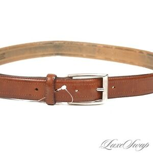 The British Belt Company Made in England Brown Leather Silver Buckle Belt 34 #15