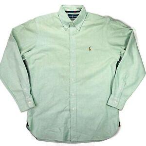 Ralph Lauren Classic Fit Shirt Medium Mens Green Oxford LS Buttonup