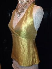 $49 NWT~THE LIMITED~Women's METALLIC GOLD~SATIN CUPS~Halter Top~ Size MEDIUM M