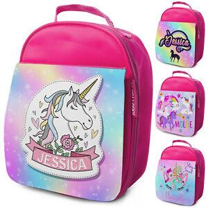 Personalised Lunch Bag Girls Unicorn School Bag Kids Rainbow Childrens Cooler