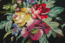 Vict​orian Rose Needlepoint Canvas Vintage Completed Black