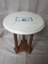 """ACCENT ROUND 14.5"""" DIA 20"""" TALL SIDE END TABLE MARBLE TOP PLANT STAND WOOD BASE"""