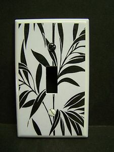 BLACK LEAVES  ON WHITE #10  LIGHT SWITCH COVER PLATE OR OUTLET COVER
