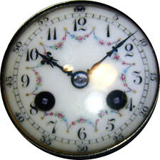 Crystal Dome Button Clock Face w/ Floral Motif - Beautiful Ck 5-49  1 inch