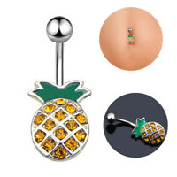 Crystal Rhinestone Pineapple Navel Belly Button Ring Bar Body Piercing Jewelry