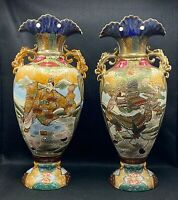"PAIR OF ANTIQUE MEIJI 16"" JAPANESE SATSUMA MORIAGE SAMURAI WARRIORS VASES SIGNED"