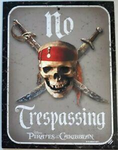 Disney Pirates of the Caribbean Metal Sign No Trespassing New
