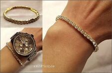 NEW GOLD CLEAR RHINESTONE CRYSTAL STRETCH TENNIS BRACELET