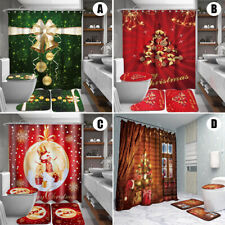 Christmas Printing  Shower Curtain Set Toilet Cover Mat Kit    ✔