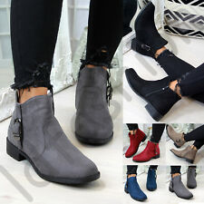 New Womens Ankle Boots Buckle Zip Low Heel Comfy Ladies Shoes Sizes 3-8