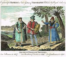 """Bankes's System of Geography - """"ANCIENT ENGLISH DRESSES"""" - Hand-Col'd Eng. -1781"""