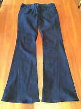 TRUE RELIGION REAL Dark Wash JOEY Flared Leg Black Glitter Design Jeans 30