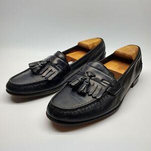Salvatore Ferragamo Mens Size 10DTassel Loafers Black Leather Slip-on