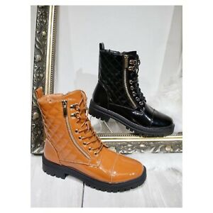 NEW WOMENS WORKER COMBAT BIKER MILITARY FLAT LACE UP ANKLE LADIES BOOTS SHOES UK