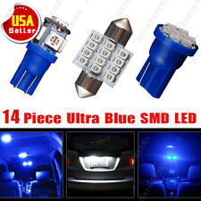 "14x Blue LED Light Interior Package Kit For T10 & 1.22"" Map Dome + License Plate"