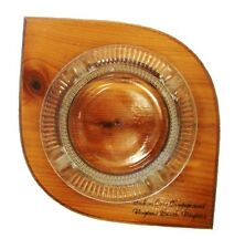 Vintage Ashtray Indian Cove Campground Virginia Beach VA Wood Glass Souvenir