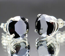 10.38tcw Real Natural Black Diamond Stud Earrings, Certified AAA & $5390 Value""""