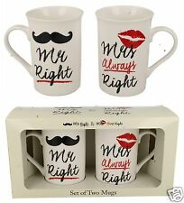Mr & Mrs Always Right Mug Mugs Set Wedding Anniversary LP33344