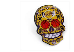 LOS ANGELES LAKERS - SUGAR SKULL LAPEL/HAT PIN - BRAND NEW - NBA-PN-566-25