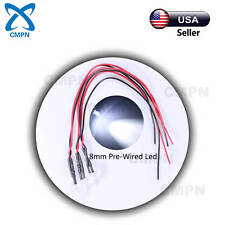 10Pcs 8mm Pre-Wired DC 9-12v White Round Top Water Clear Light LED Diodes 20CM