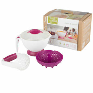 Infantino Steam and Smush Baby Food Maker Set-Masher,Bowl,Vented Lid and Basket