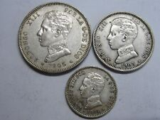 1903 1904 1905 SPAIN ALFONSO XIII 50 CENT+1+2 PESETAS LOT 3 COIN SILVER RARE .,