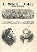 Charles Gleyre SUISSE / Octave Tassaert FRANCE PEINTRE GRAVURE OLD PRINT 1874